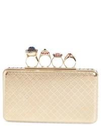 Embellished knuckle clasp box clutch metallic medium 1150870