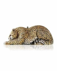 Judith leiber couture crystal embellished wildcat clutch bag ceylonmulti medium 3665585