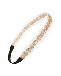 BP. Beaded Mesh Headband Ivory Gold One Size