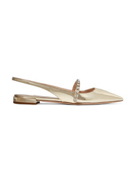 Miu Miu Crystal Embellished Metallic Patent Leather Slingback Flats