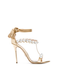 Paula Cademartori Embellished Ankle Tie Sandals