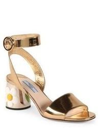 Flower heel metallic leather ankle strap sandals medium 1197511