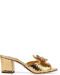 Dolce & Gabbana Crystal Embellished Metallic Leather Mules Gold