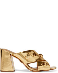 Michael Kors Michl Kors Collection Brianna Embellished Metallic Leather Mules Gold