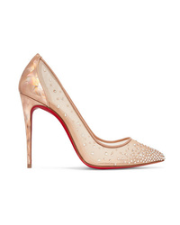 Christian Louboutin Follies 100 Crystal Embellished Mesh And Metallic Leather Pumps