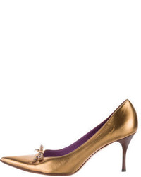Gucci Metallic Pointed Toe Pumps