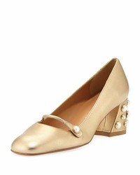 Pearlstrap embellished pump gold medium 3729482
