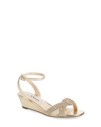 Nina Florina Crystal Embellished Wedge Sandal