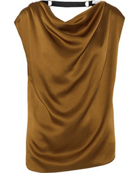 Lanvin Embellished Draped Satin Top Bronze