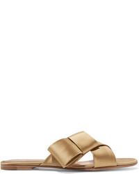 Gianvito Rossi Obi Bow Embellished Satin Slides Gold
