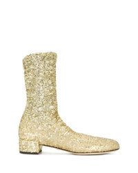 Gold Embellished Sequin Ankle Boots