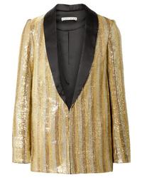 Alice + Olivia Jace Oversized Satin Trimmed Sequined Cotton Blazer