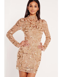 Missguided Premium High Neck Sequin Embellished Bodycon Dress Gold