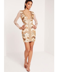 Missguided Premium Sequin Embellished Chevron Plunge Bodycon Dress Gold