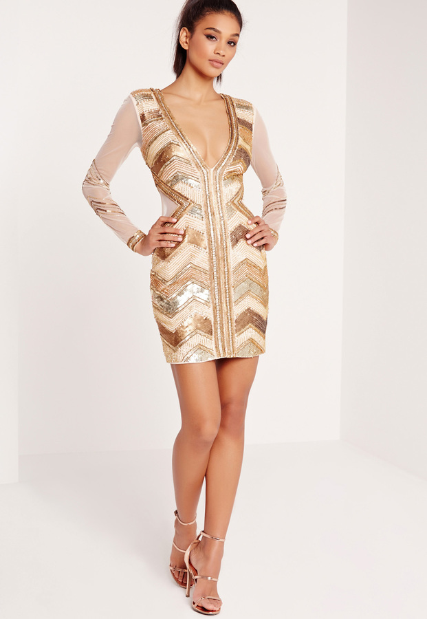Missguided Premium Sequin Embellished Chevron Plunge Bodycon Dress ...