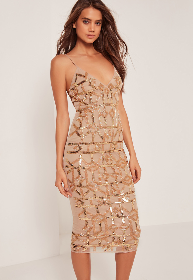 4e6a4bc3dd5dd5 ... Missguided Premium Strappy Grid Sequin Embellished Midi Dress Gold