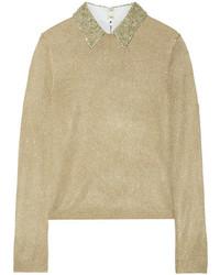 Alice + Olivia Dia Embellished Metallic Knitted Sweater Gold