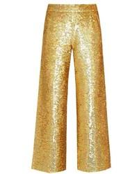 Ashish Sequin Embellished Straight Leg Cotton Trousers
