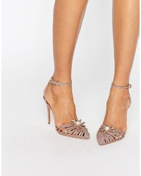 Ted Baker Zhine Rose Gold Embellished Strappy Heeled Shoes