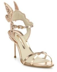 Sophia Webster Chiara Mid Heel Wing Embroidered Metallic Leather Sandals