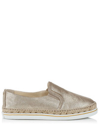 Jimmy Choo Dawn Gold Coarse Metallic Suede Slip On Espadrilles