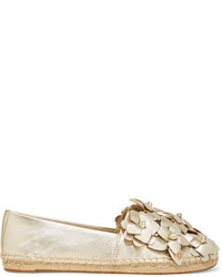 Tory Burch Blossom Metallic Appliqud Textured Leather Espadrilles Gold