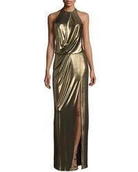 Halston Heritage Metallic Halter Column Gown Bronze