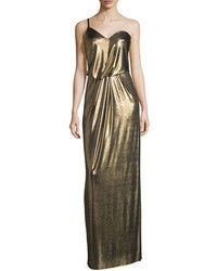 Halston Heritage One Shoulder Metallic Jersey Column Dress Bronze