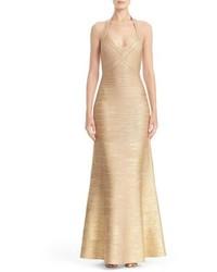 Herve Leger Woodgrain Metallic Foil Halter Gown