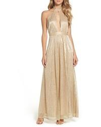 LuLu*s Lulus Metallic Halter Gown