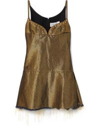 MARQUES ALMEIDA Distressed Metallic Denim Mini Dress