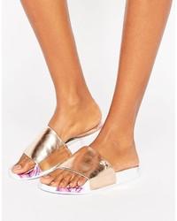 Ted Baker Armeana Rose Gold Sketchbook Slide Flat Sandals