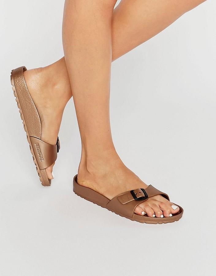 47b28cec151791 ... Birkenstock Madrid Metallic Narrow Fit Slide Flat Sandals ...