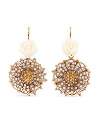 Dolce & Gabbana Gold Tone Enamel And Crystal Earrings