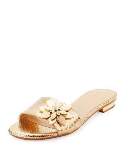 a187f7a2fad1 ... MICHAEL Michael Kors Michl Michl Kors Heidi Floral Flat Slide Sandal  Pale Gold ...