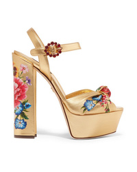 Dolce & Gabbana Knotted Crystal Embellished Floral Print Metallic Leather Platform Sandals