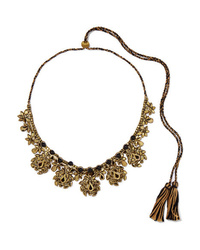 Etro Braided Cotton Bead And Crystal Necklace