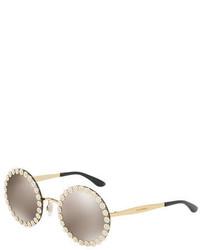 Dolce & Gabbana Round Floral Metal Sunglasses