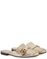 ca5971d05 ... Gucci Marmont Metallic Laminate Leather Slipper ...