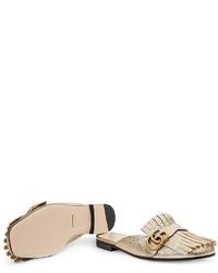 43342bf33 ... Gucci Marmont Metallic Laminate Leather Slipper