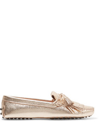 ecc68cfc663 ... Tod s Gommino Fringed Metallic Textured Leather Loafers Gold