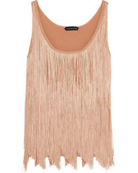 Tom Ford Fringed Stretch Knit Camisole Peach