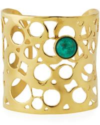 Devon Leigh Wide Cutout Cuff Bracelet W Green Cabochon