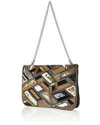 River Island Gold Leather Embellished Clutch Bag