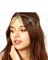 Chineon Girl Boho Bohemian Sexy Green Stone Tassels Headband Link Chain Cuff Headpiece