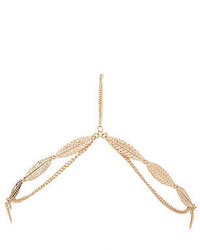 Charlotte Russe Golden Leaf Chain Goddess Headpiece