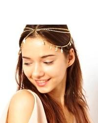Huayang Lady Girl Forehead Crystal Leaf Style Tassels Headband Link Chain Cuff Headpiece