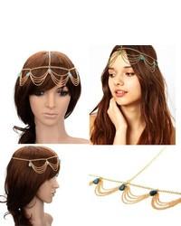 Hyl New Fashion Metal Head Band Gold Tone Jewelry Headpiece Chain Hairband Headband