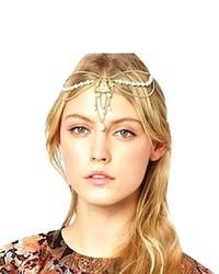 Sannysis Hmetal Chain Jewelry Headband Head Hair Band Tassels Pearl