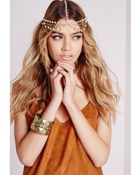 Missguided Statet Pearl Detail Headpiece Gold